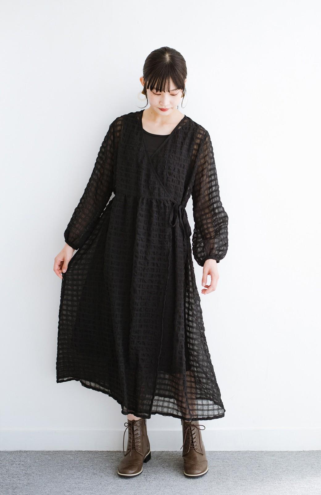 haco! 羽織としても便利!シアー素材で女っぽかわいいカシュクールワンピース&インナーセット <ブラック>の商品写真13