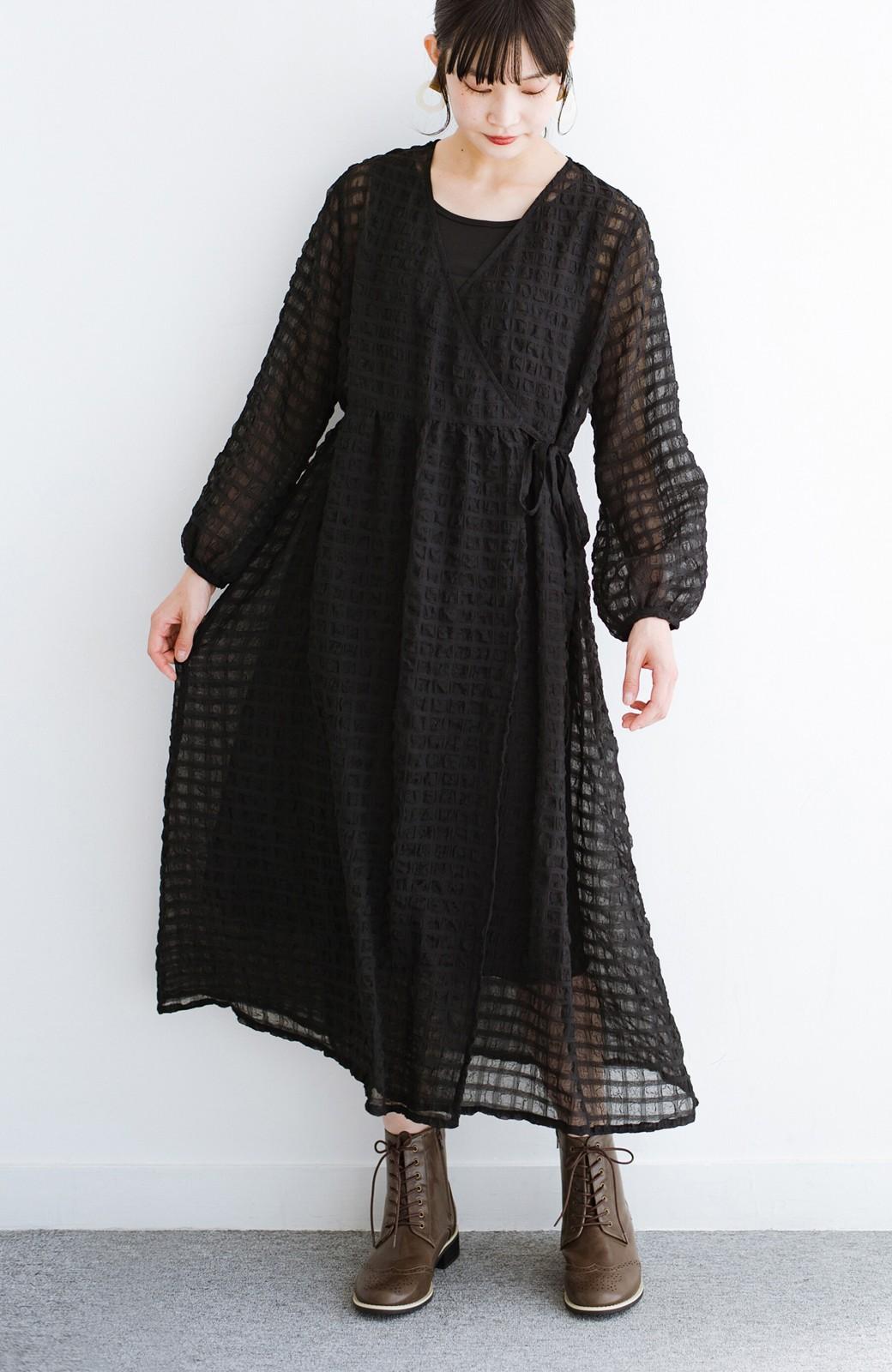 haco! 羽織としても便利!シアー素材で女っぽかわいいカシュクールワンピース&インナーセット <ブラック>の商品写真1