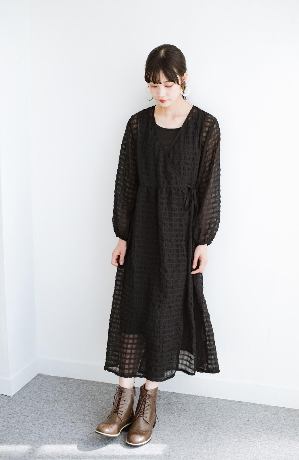 haco! 羽織としても便利!シアー素材で女っぽかわいいカシュクールワンピース&インナーセット <ブラック>の商品写真14