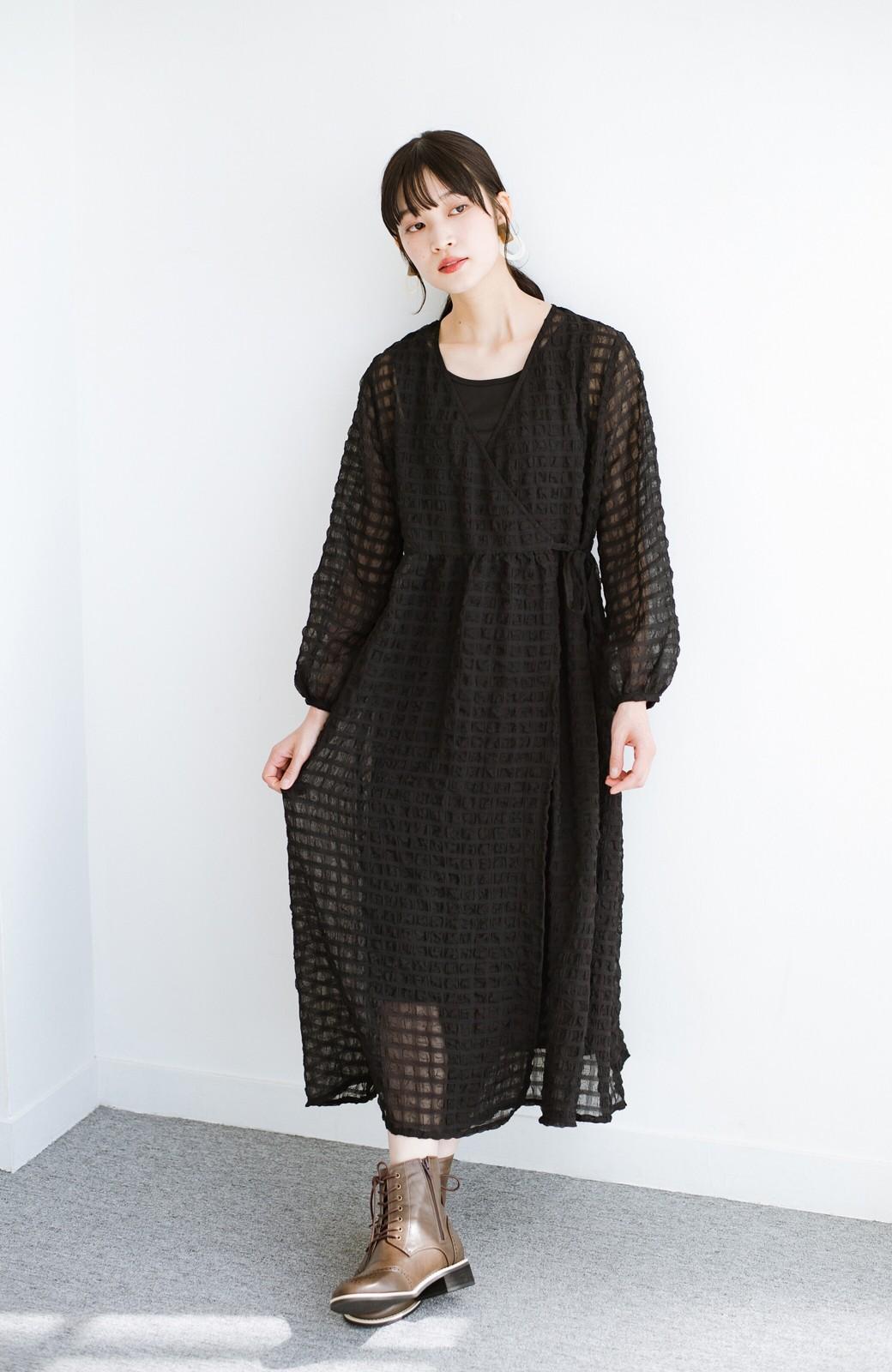 haco! 羽織としても便利!シアー素材で女っぽかわいいカシュクールワンピース&インナーセット <ブラック>の商品写真15