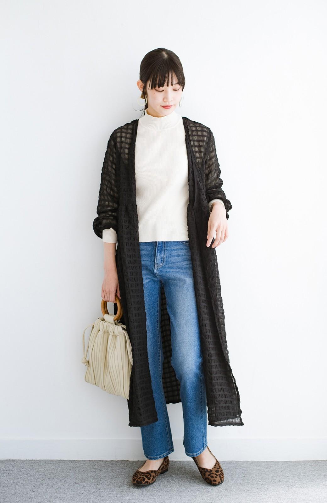 haco! 羽織としても便利!シアー素材で女っぽかわいいカシュクールワンピース&インナーセット <ブラック>の商品写真16