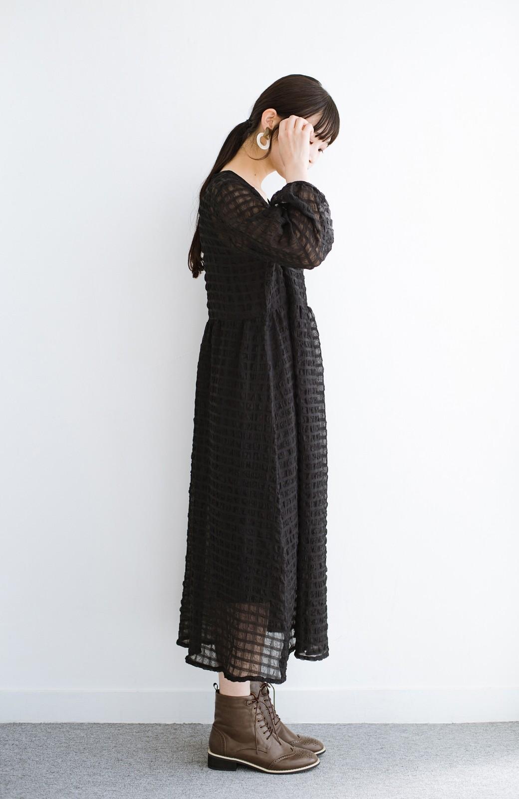 haco! 羽織としても便利!シアー素材で女っぽかわいいカシュクールワンピース&インナーセット <ブラック>の商品写真17