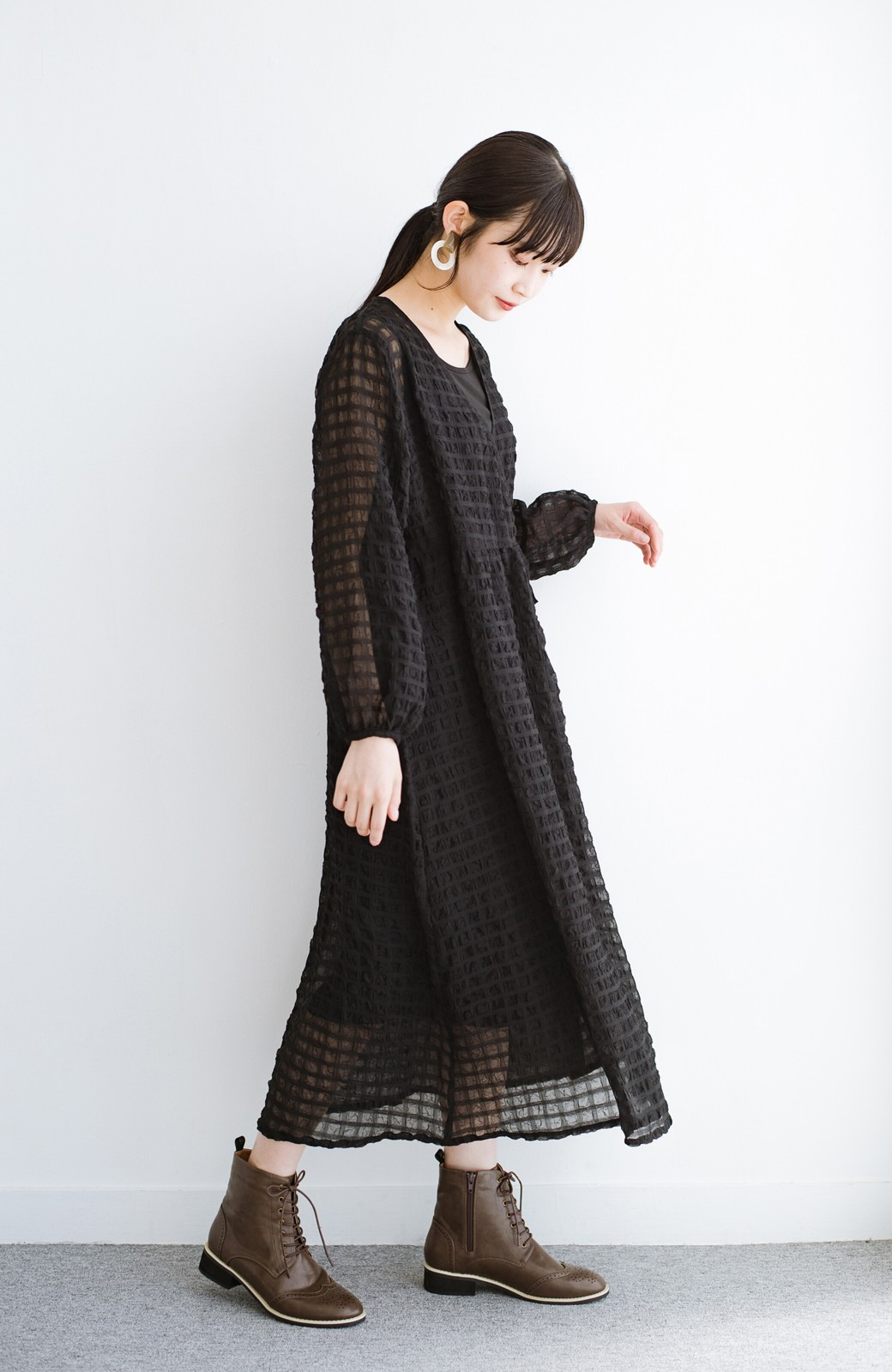 haco! 羽織としても便利!シアー素材で女っぽかわいいカシュクールワンピース&インナーセット <ブラック>の商品写真18