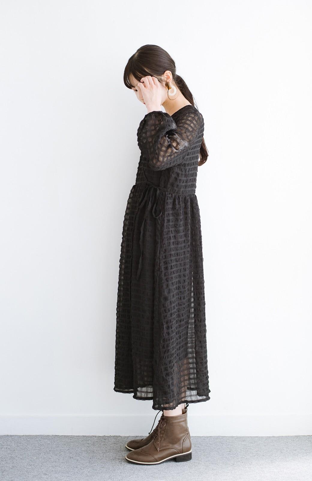 haco! 羽織としても便利!シアー素材で女っぽかわいいカシュクールワンピース&インナーセット <ブラック>の商品写真19