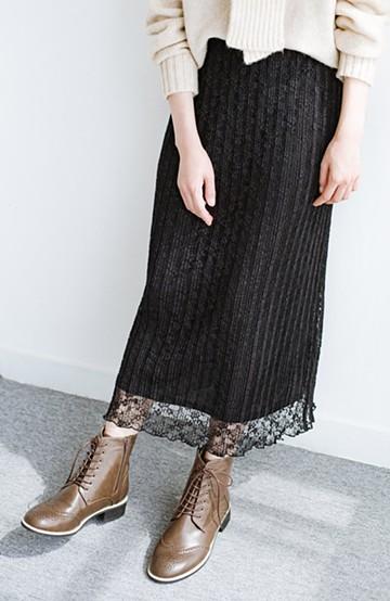 haco! いつものトップスがパッと華やぐ 色っぽレースのプリーツスカート by Nohea <ブラック>の商品写真