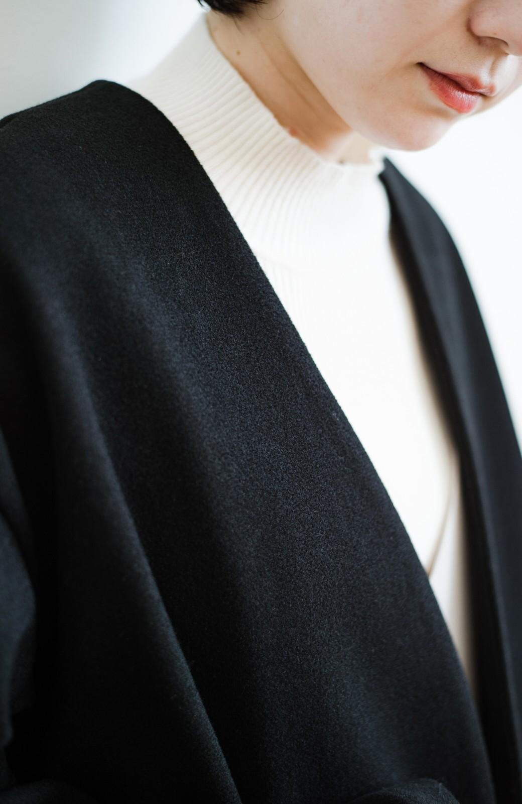 haco! 気軽に羽織れて女っぽくもかっこよくも決まる!便利なノーカラーコート <ブラック>の商品写真6