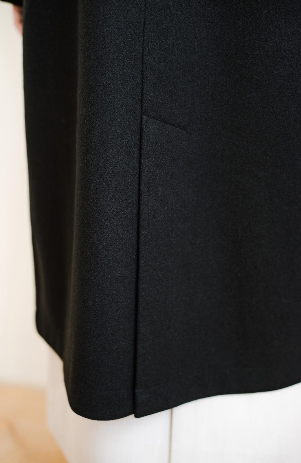 haco! 気軽に羽織れて女っぽくもかっこよくも決まる!便利なノーカラーコート <ブラック>の商品写真12