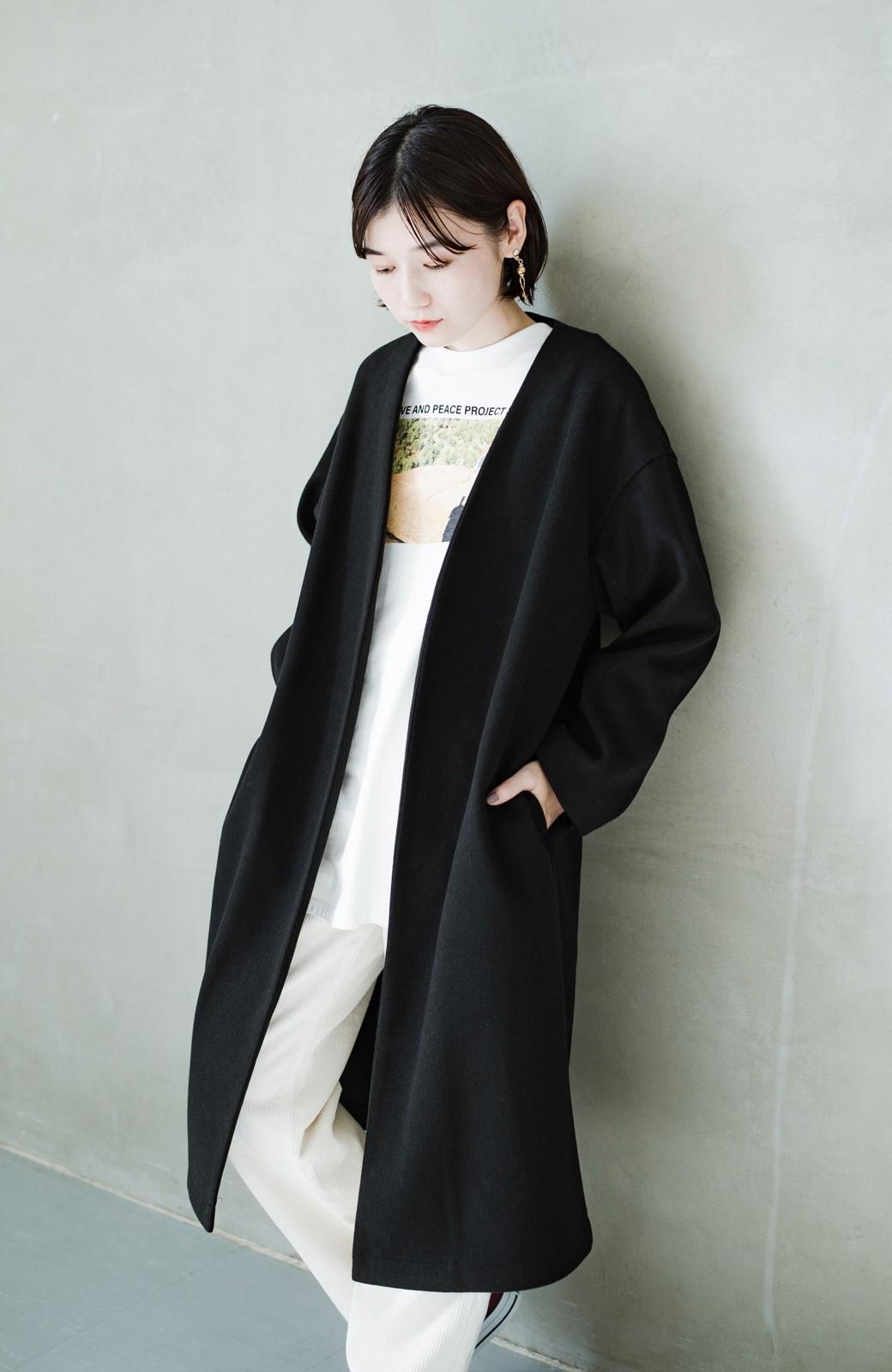 haco! 気軽に羽織れて女っぽくもかっこよくも決まる!便利なノーカラーコート <ブラック>の商品写真8