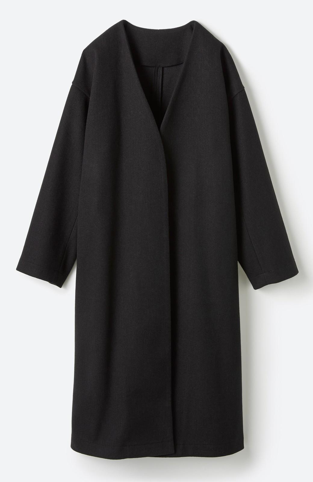 haco! 気軽に羽織れて女っぽくもかっこよくも決まる!便利なノーカラーコート <ブラック>の商品写真31