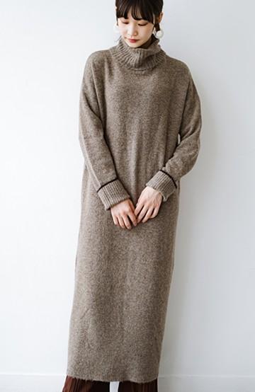 haco! 秋冬の時短コーデにお役立ち!パッと着てかわいい ゆるシルエットのタートルニットワンピース <ブラウン>の商品写真