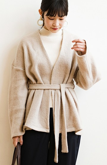 haco!  ぱっと羽織って今っぽい! ふわっと素材が気持ちいい軽やかコート <ベージュ>の商品写真
