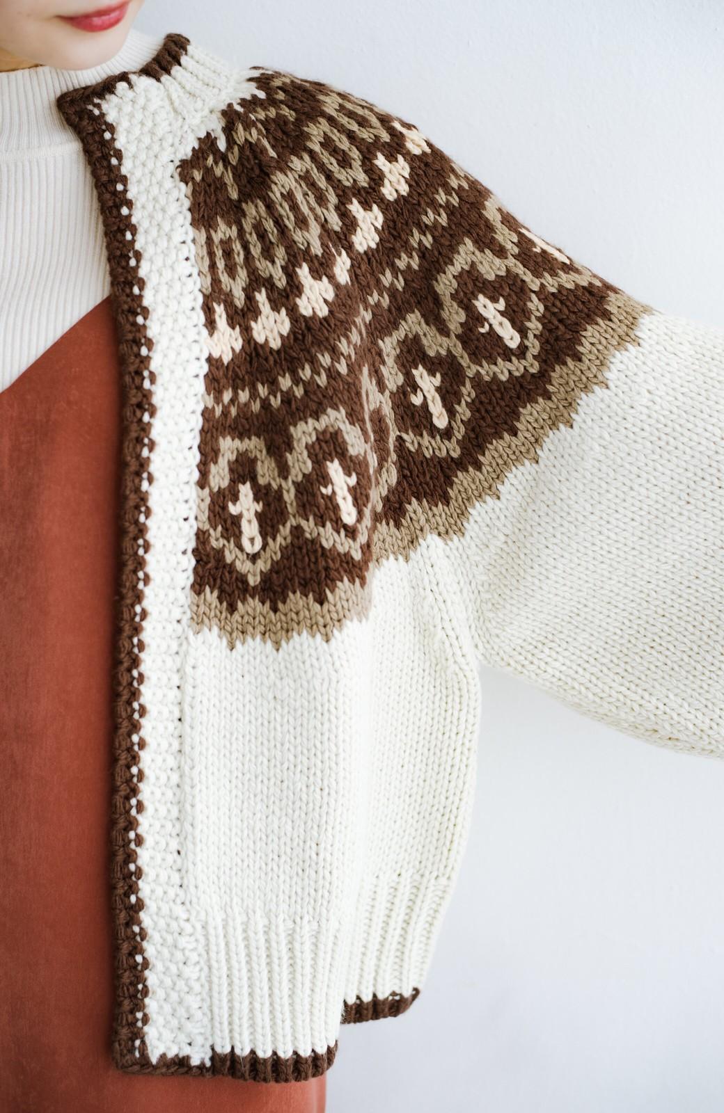 haco! ゆるりと羽織ってあったかかわいいノルディックニットカーディガン <アイボリー>の商品写真7