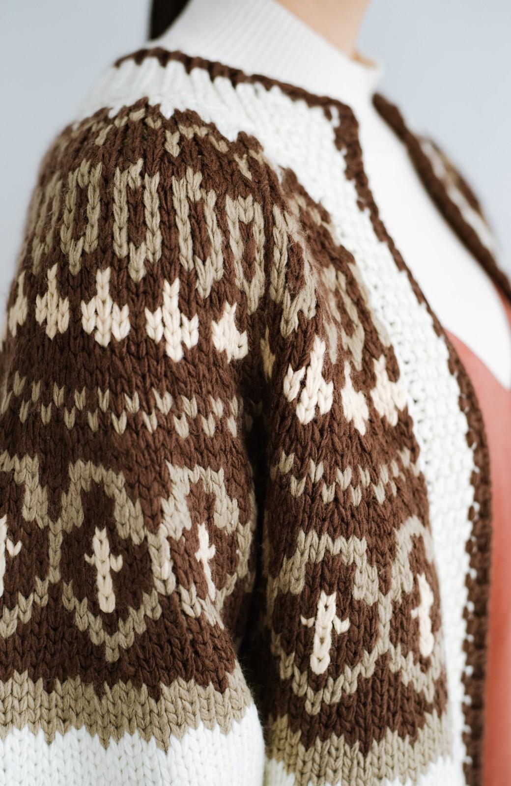 haco! ゆるりと羽織ってあったかかわいいノルディックニットカーディガン <アイボリー>の商品写真9