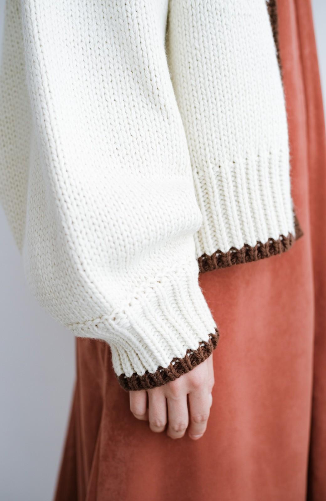 haco! ゆるりと羽織ってあったかかわいいノルディックニットカーディガン <アイボリー>の商品写真10