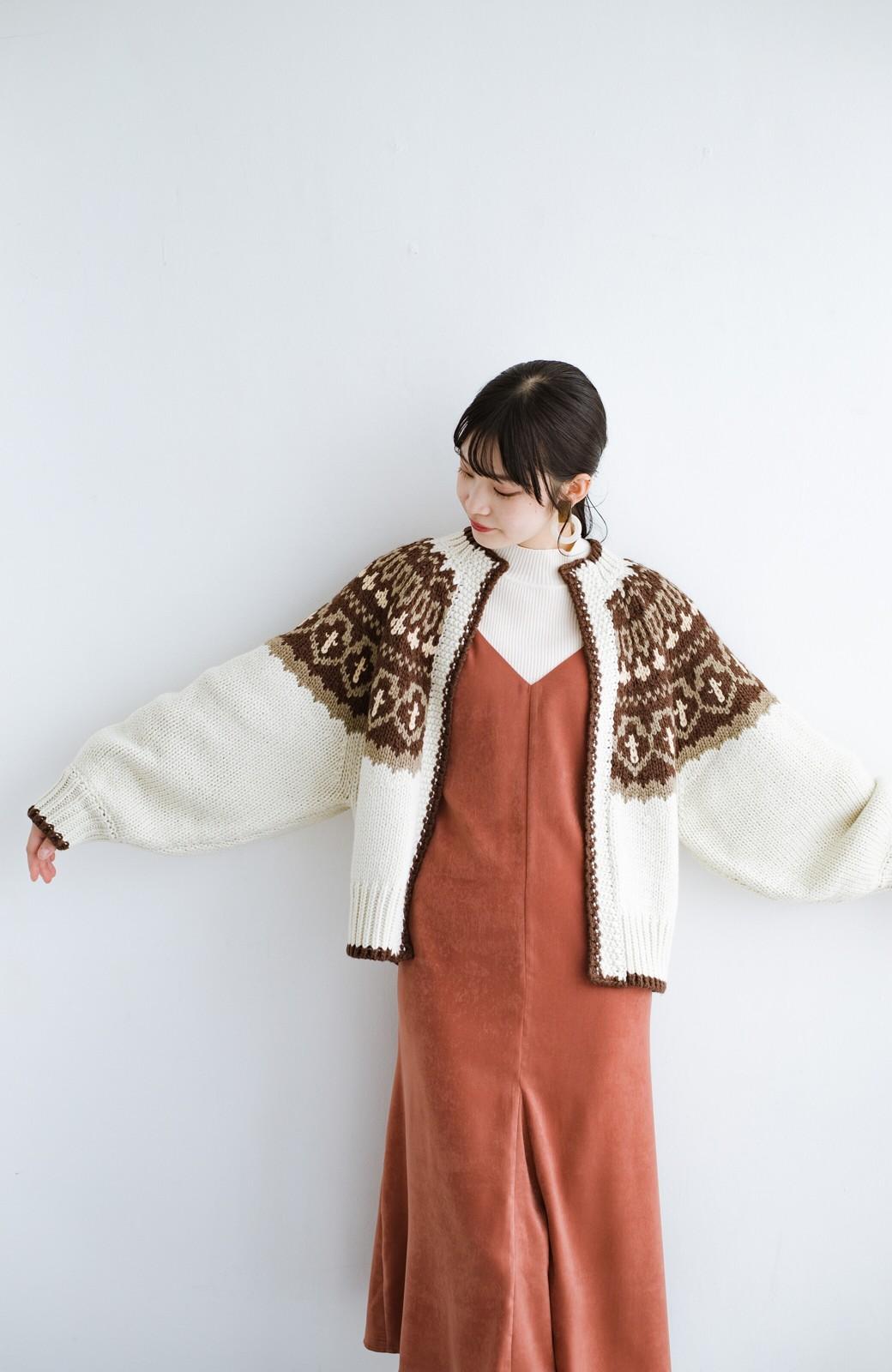 haco! ゆるりと羽織ってあったかかわいいノルディックニットカーディガン <アイボリー>の商品写真20