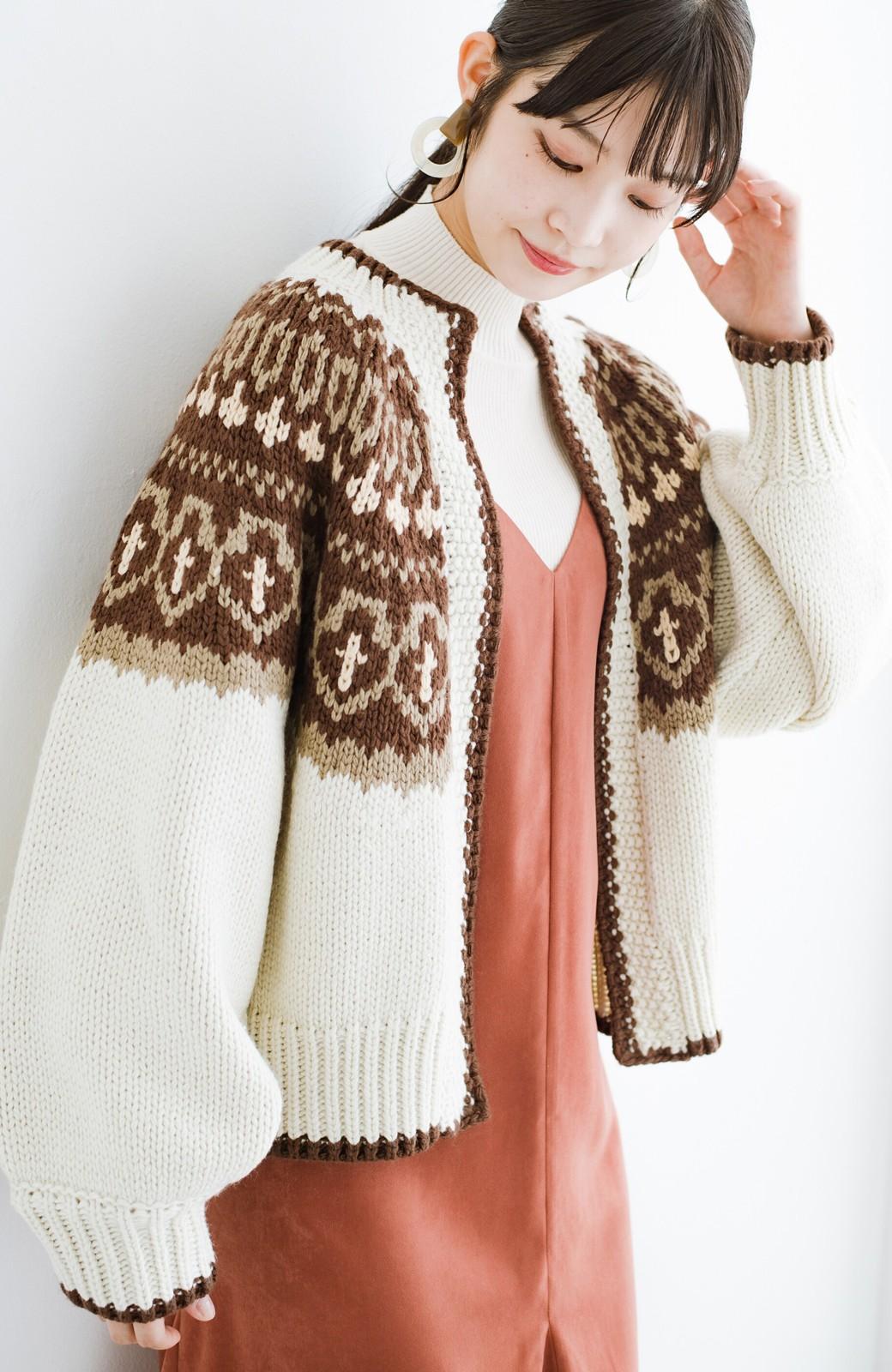 haco! ゆるりと羽織ってあったかかわいいノルディックニットカーディガン <アイボリー>の商品写真5