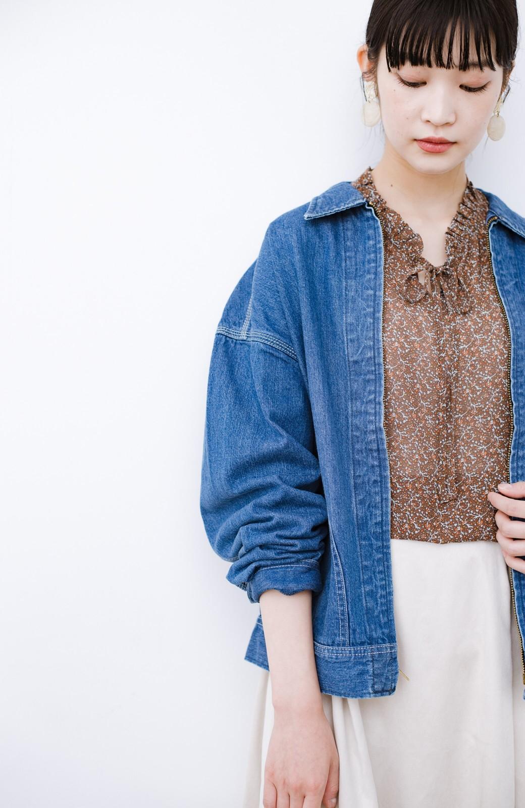 haco! Lady Lee ゆるっとシルエットが可愛いデニムジャケット <ブルー>の商品写真3