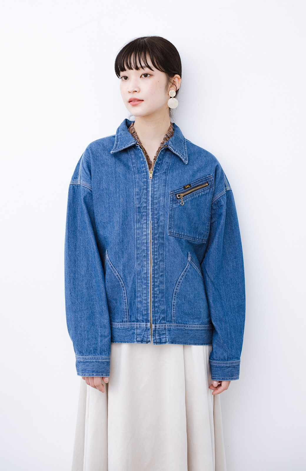 haco! Lady Lee ゆるっとシルエットが可愛いデニムジャケット <ブルー>の商品写真11