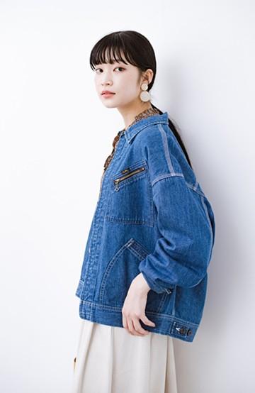 haco! Lady Lee ゆるっとシルエットが可愛いデニムジャケット <ブルー>の商品写真