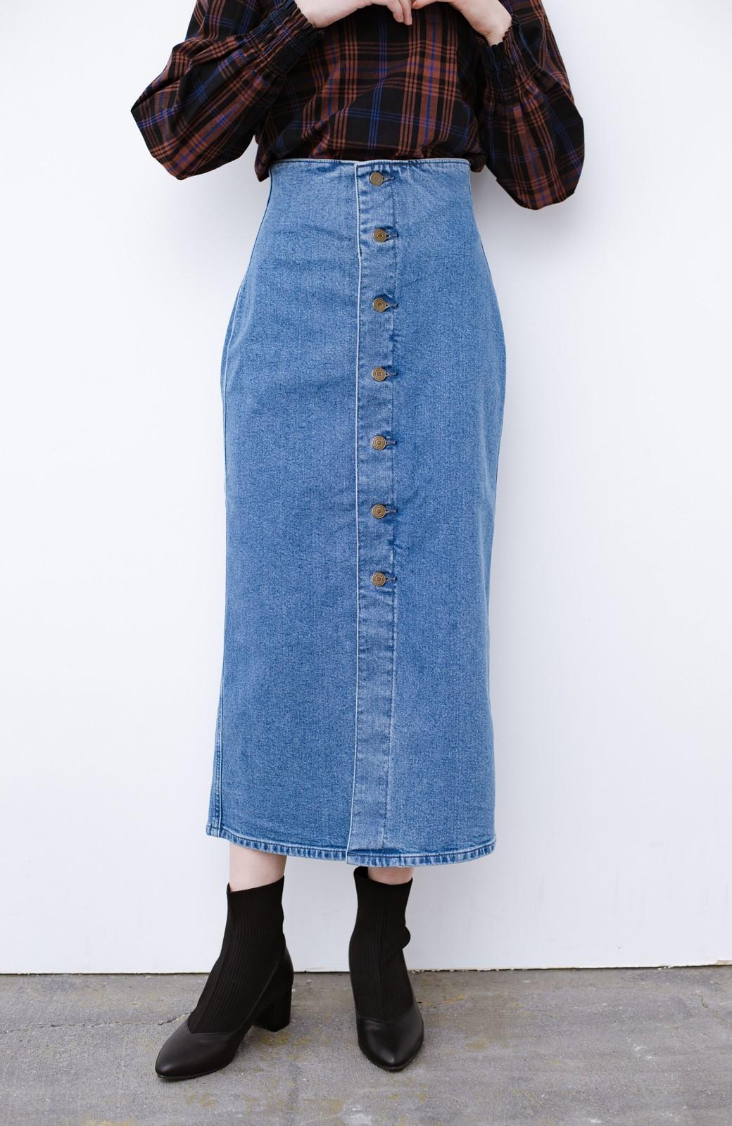 haco! Lady Lee  フロントボタンがポイントの華奢見せデニムスカート <ライトブルー>の商品写真2