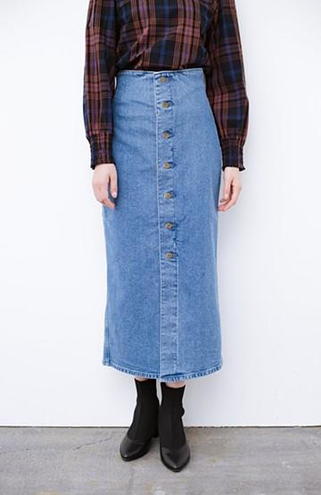 haco! Lady Lee  フロントボタンがポイントの華奢見せデニムスカート <ライトブルー>の商品写真