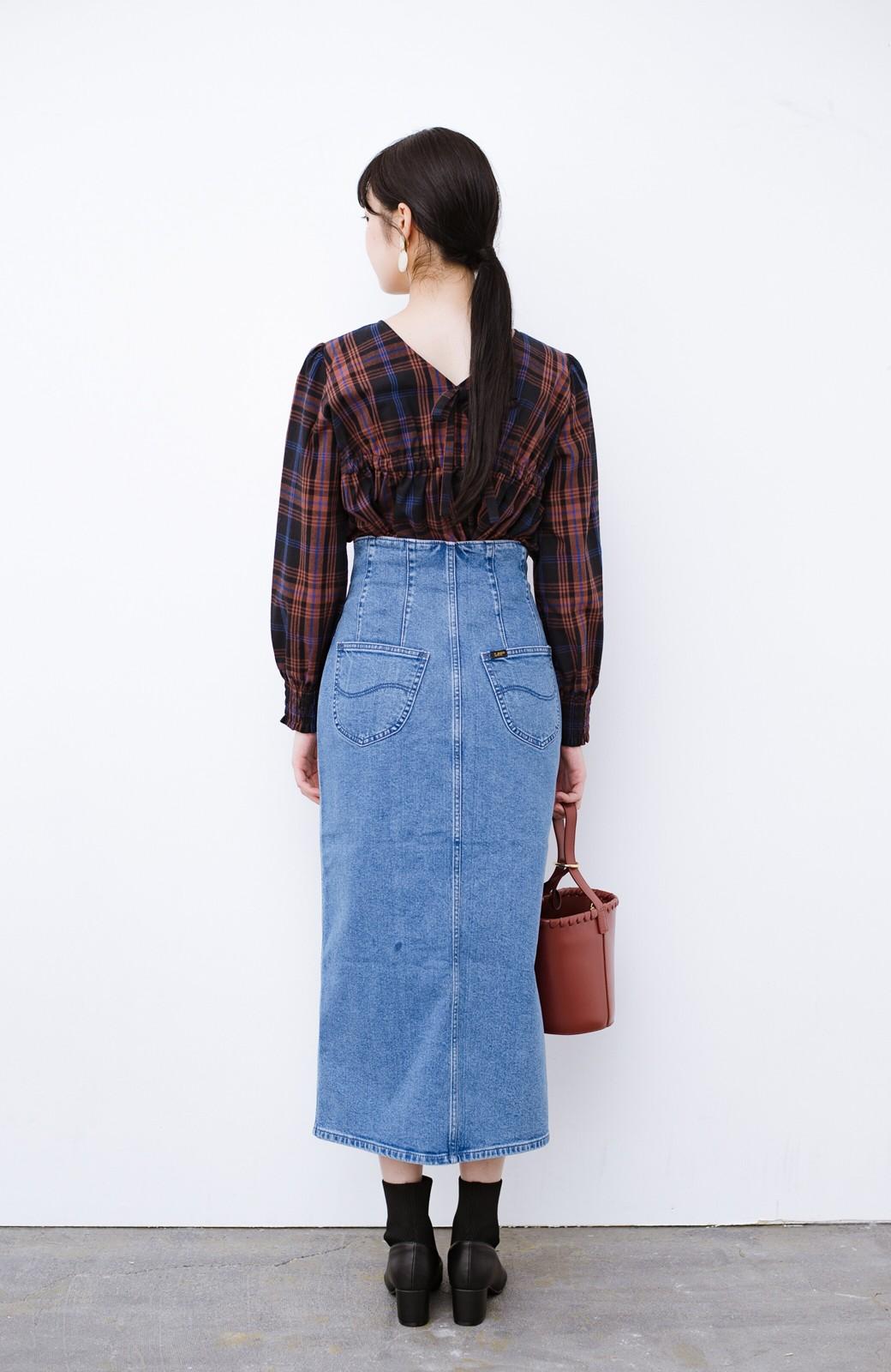 haco! Lady Lee  フロントボタンがポイントの華奢見せデニムスカート <ライトブルー>の商品写真13