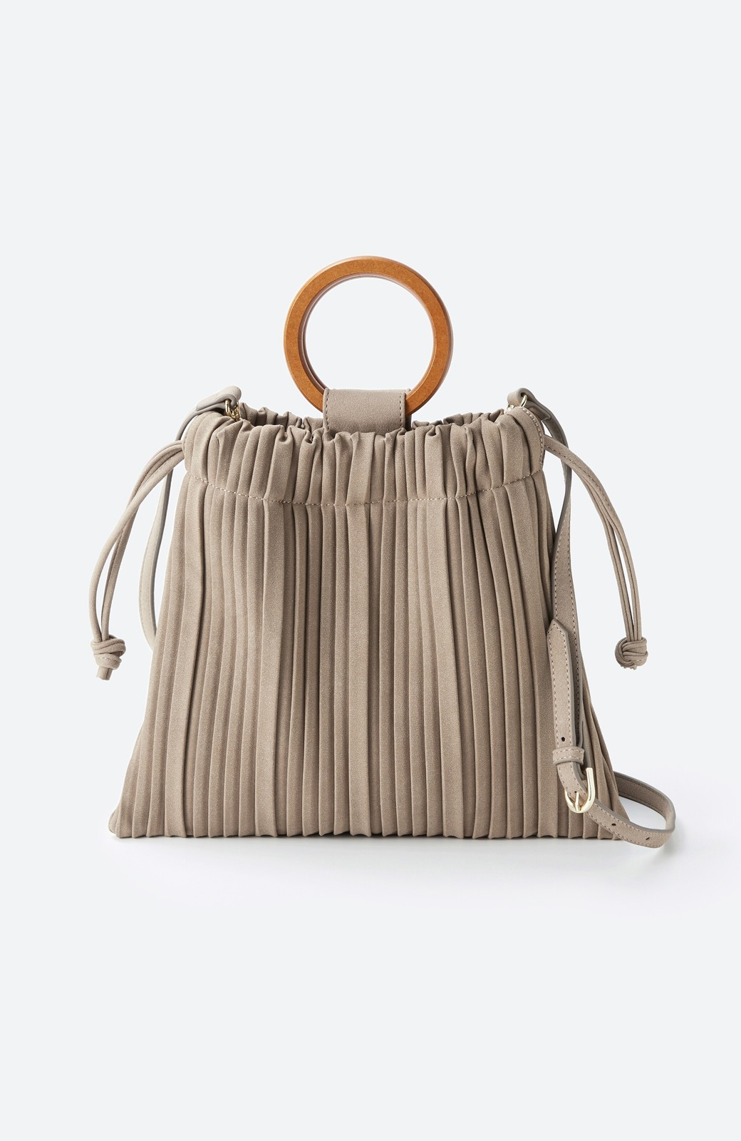 haco! パッと持ってコーデのポイントになる フェイクスエードがやさしい雰囲気の2WAYプリーツバッグ <ベージュ>の商品写真2