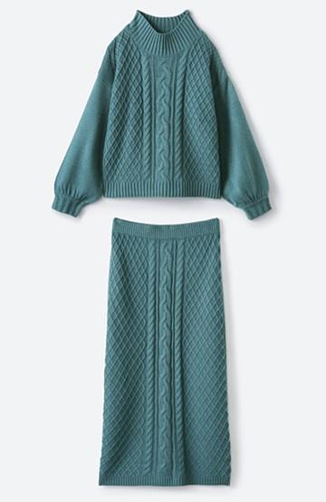 haco! 寝坊した朝でも挽回できる パッと着てかわいい便利なニットアップ <グリーン>の商品写真