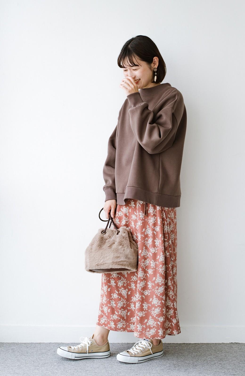 haco! さっと持って気分が上がる ふわっとかわいいエコファー巾着バッグ <グレイッシュベージュ>の商品写真12