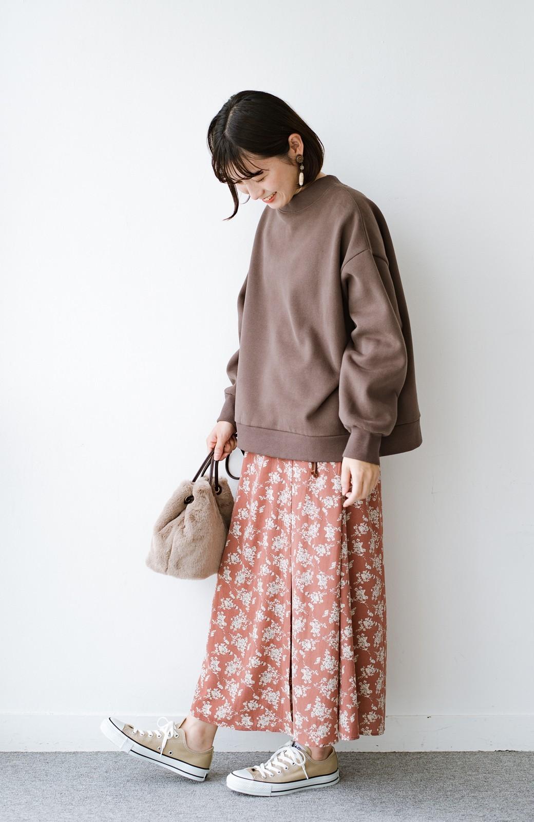 haco! シンプルトップスを合わせるだけで印象アップ間違いなしの花柄ロングフレアースカート <ピンク>の商品写真12