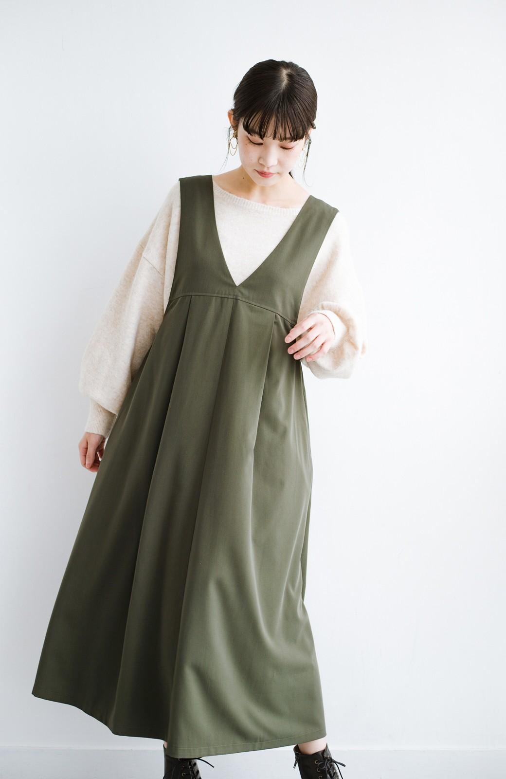 haco! 長め丈登場!Tシャツにもニットにもずーーーっと着られて便利なジャンパースカート <カーキ>の商品写真12