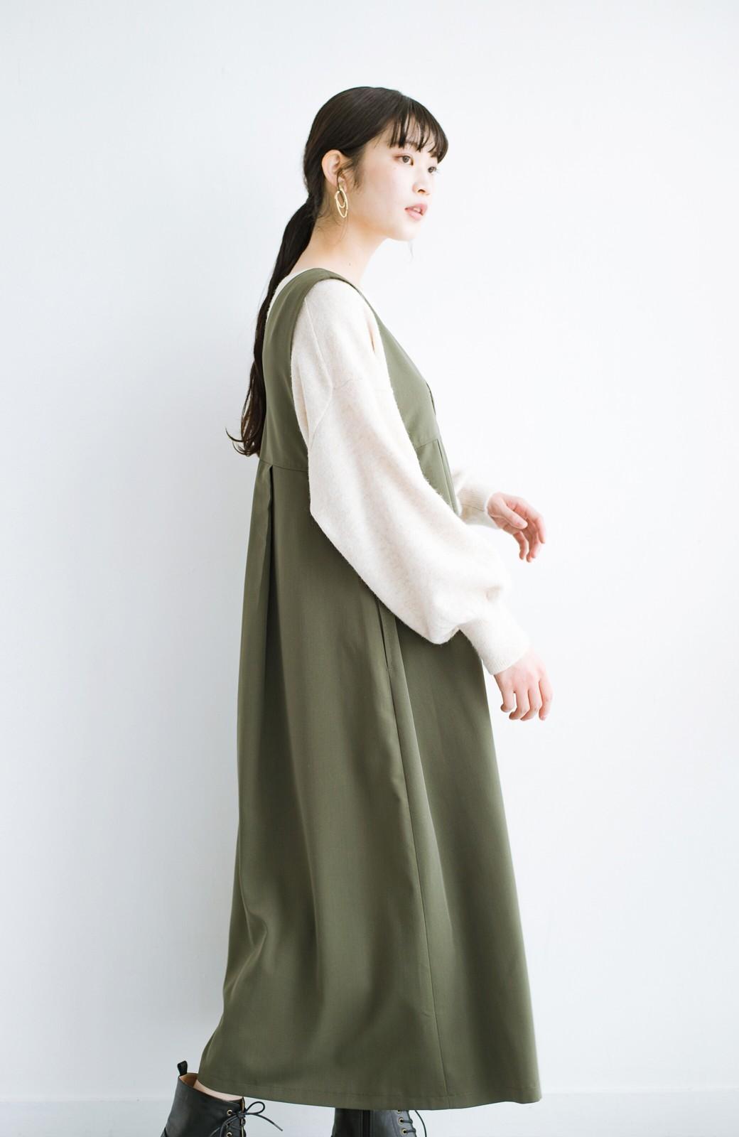 haco! 長め丈登場!Tシャツにもニットにもずーーーっと着られて便利なジャンパースカート <カーキ>の商品写真15