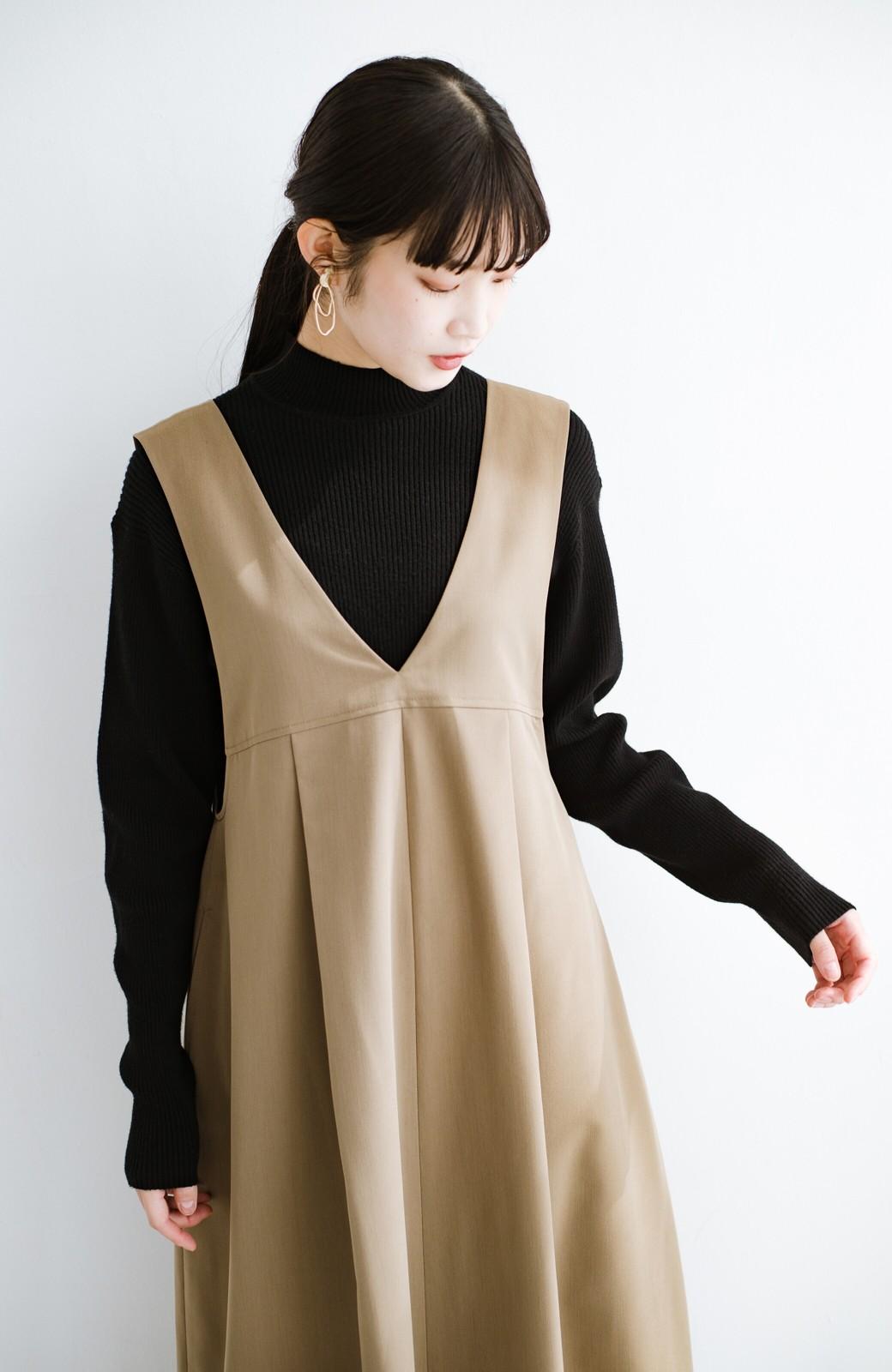 haco! 長め丈登場!Tシャツにもニットにもずーーーっと着られて便利なジャンパースカート <ベージュ>の商品写真3