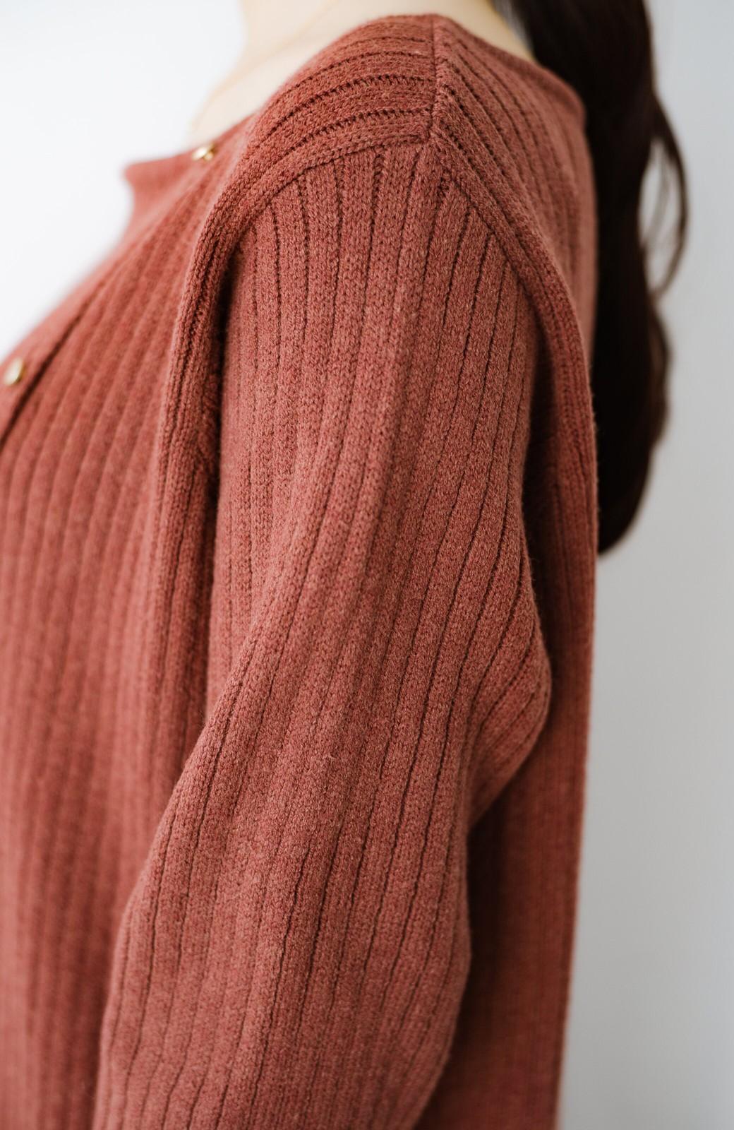 haco! 楽ちんにおめかし気分!重ね着にも便利なボタンがかわいいリブニットワンピース <ライトブラウン>の商品写真17