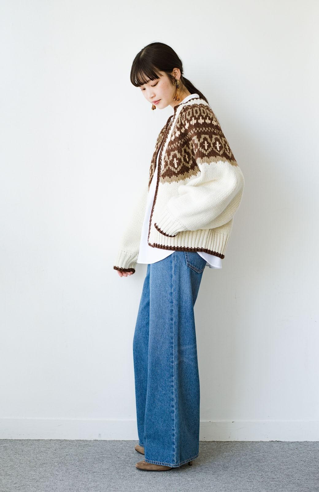 haco! ゆるりと羽織ってあったかかわいいノルディックニットカーディガン <アイボリー>の商品写真15