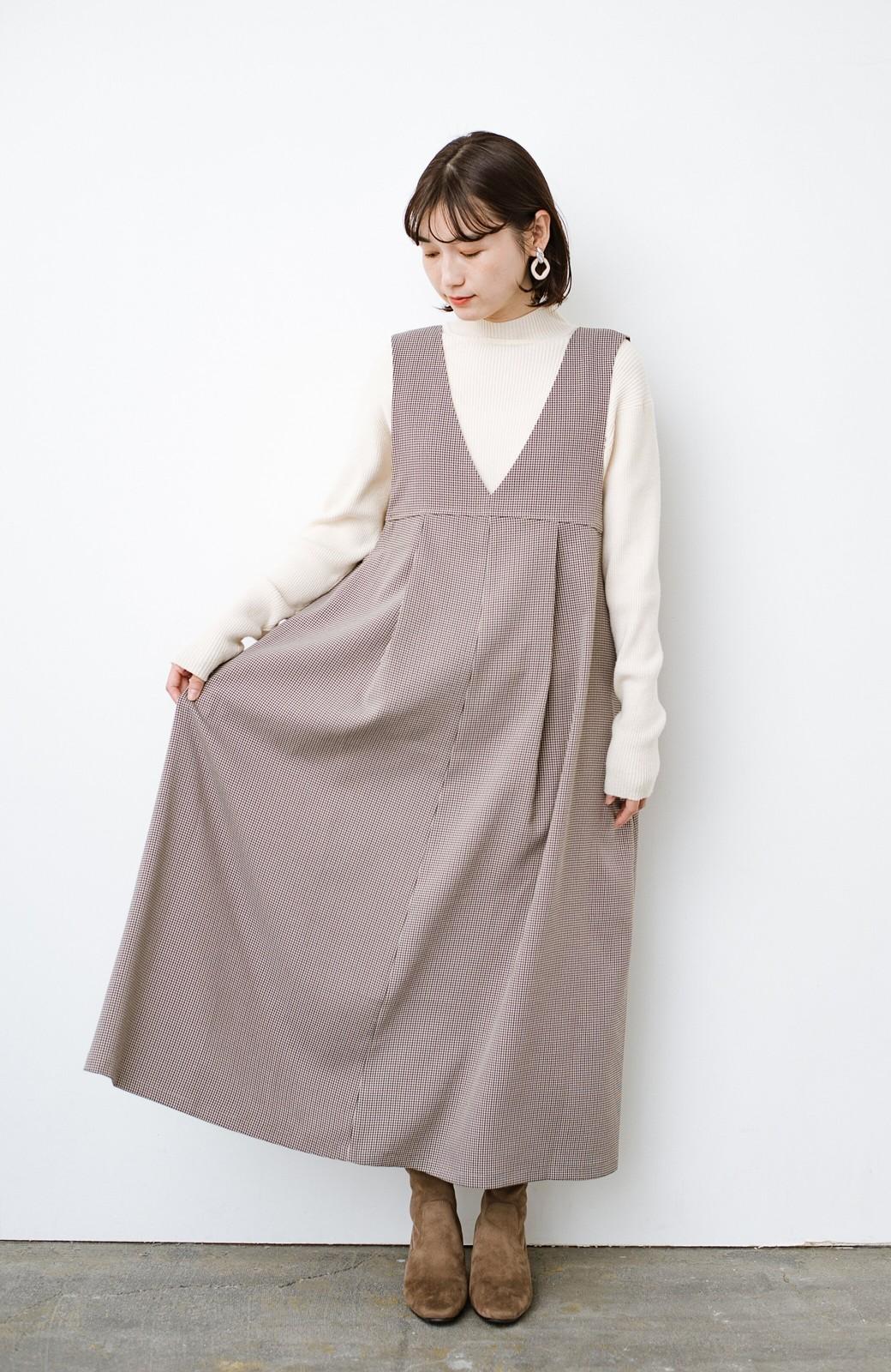 haco! 長め丈登場!Tシャツにもニットにもずーーーっと着られて便利なジャンパースカート <ブラウン系その他>の商品写真7