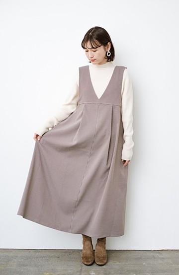 haco! 長め丈登場!Tシャツにもニットにもずーーーっと着られて便利なジャンパースカート<ブラウン系その他>の商品写真