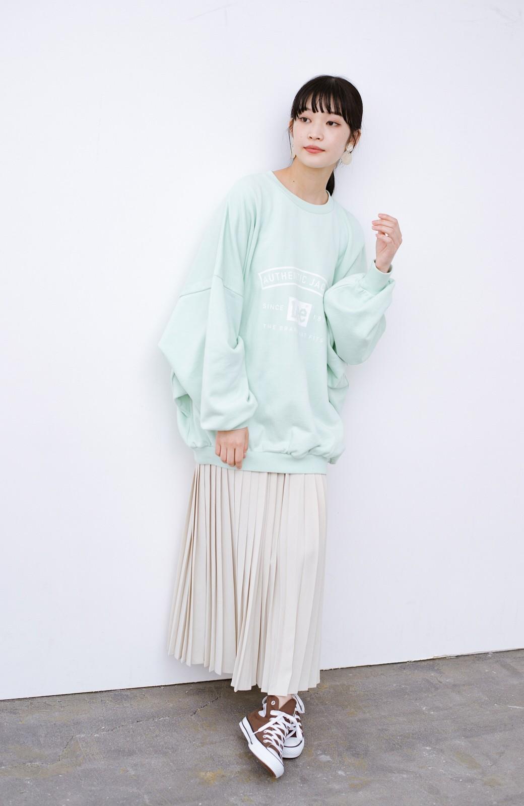 haco! Lady Lee メンズライクなだぼっとサイズ マカロンカラーが可愛いプルオーバー <ミント>の商品写真9
