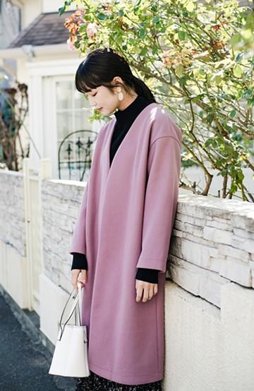 haco! 気軽に羽織れて女っぽくもかっこよくも決まる!便利なノーカラーコート <ラベンダー>の商品写真