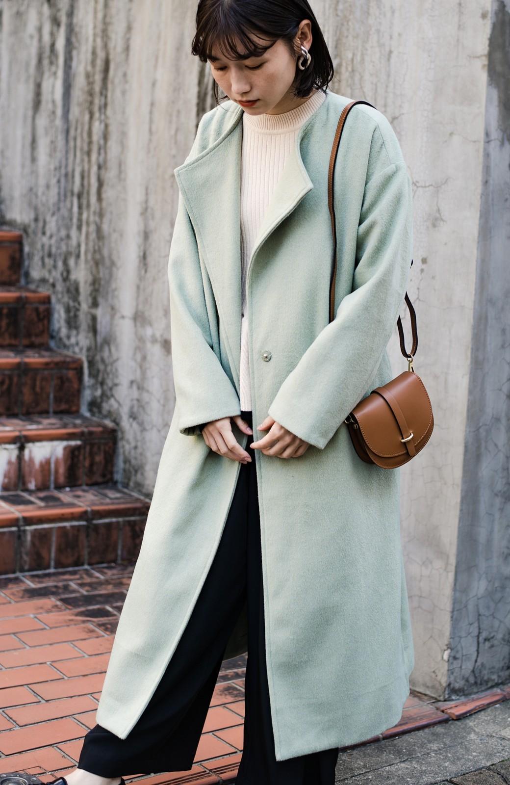 haco! 冬の地味コーデ脱出! さっと羽織って女っぽいきれい色ガウンコート <ミント>の商品写真2