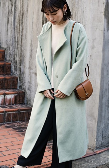haco! 冬の地味コーデ脱出! さっと羽織って女っぽいきれい色ガウンコート <ミント>の商品写真