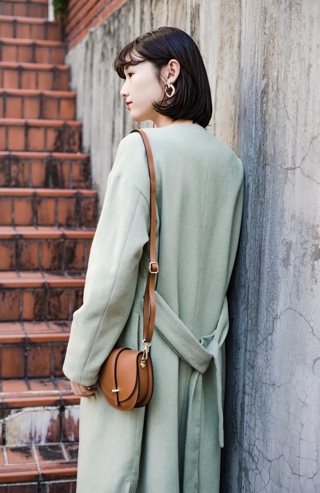haco! 冬の地味コーデ脱出! さっと羽織って女っぽいきれい色ガウンコート <ミント>の商品写真4