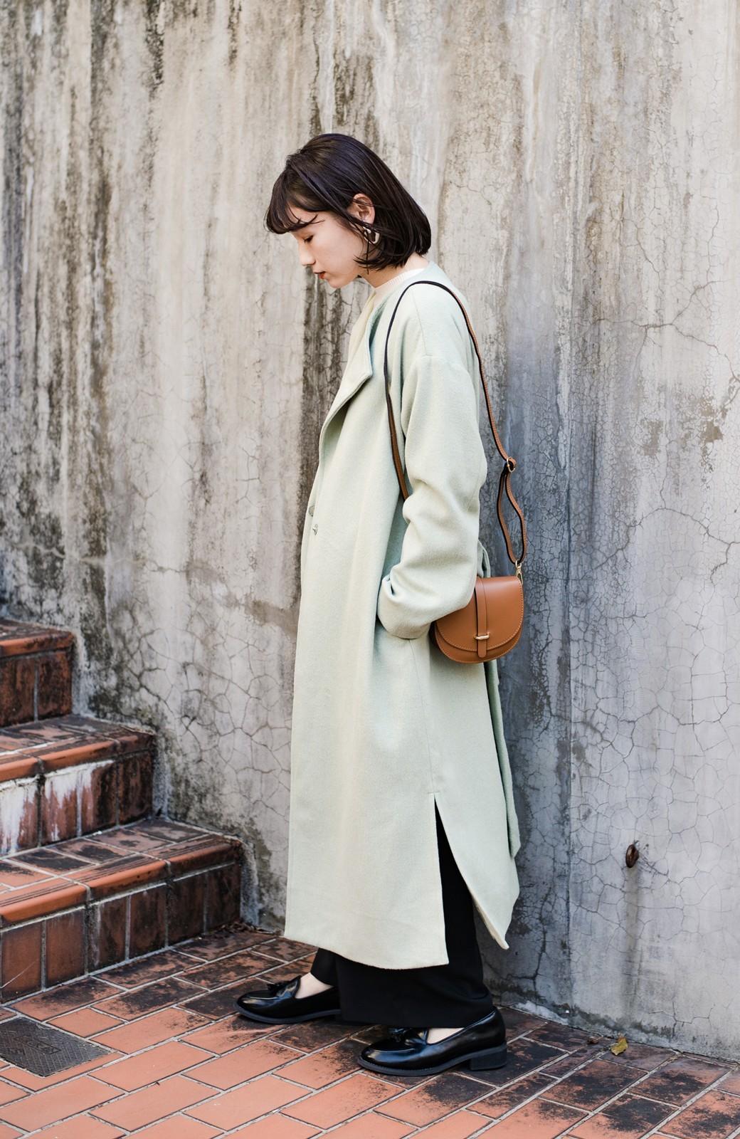 haco! 冬の地味コーデ脱出! さっと羽織って女っぽいきれい色ガウンコート <ミント>の商品写真25