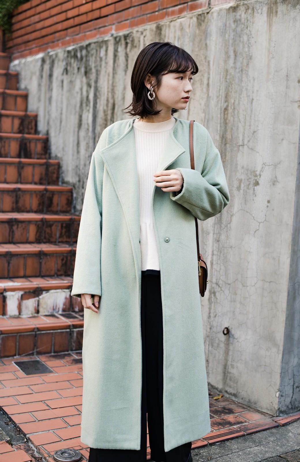 haco! 冬の地味コーデ脱出! さっと羽織って女っぽいきれい色ガウンコート <ミント>の商品写真31