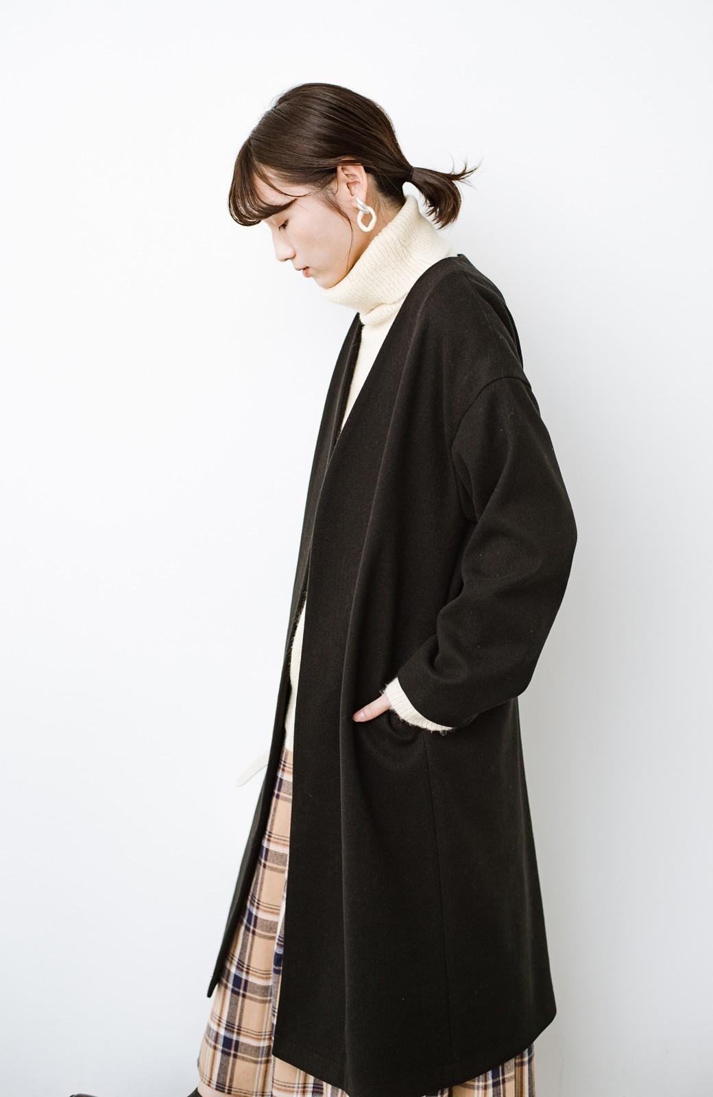 haco! 気軽に羽織れて女っぽくもかっこよくも決まる!便利なノーカラーコート <ブラック>の商品写真16