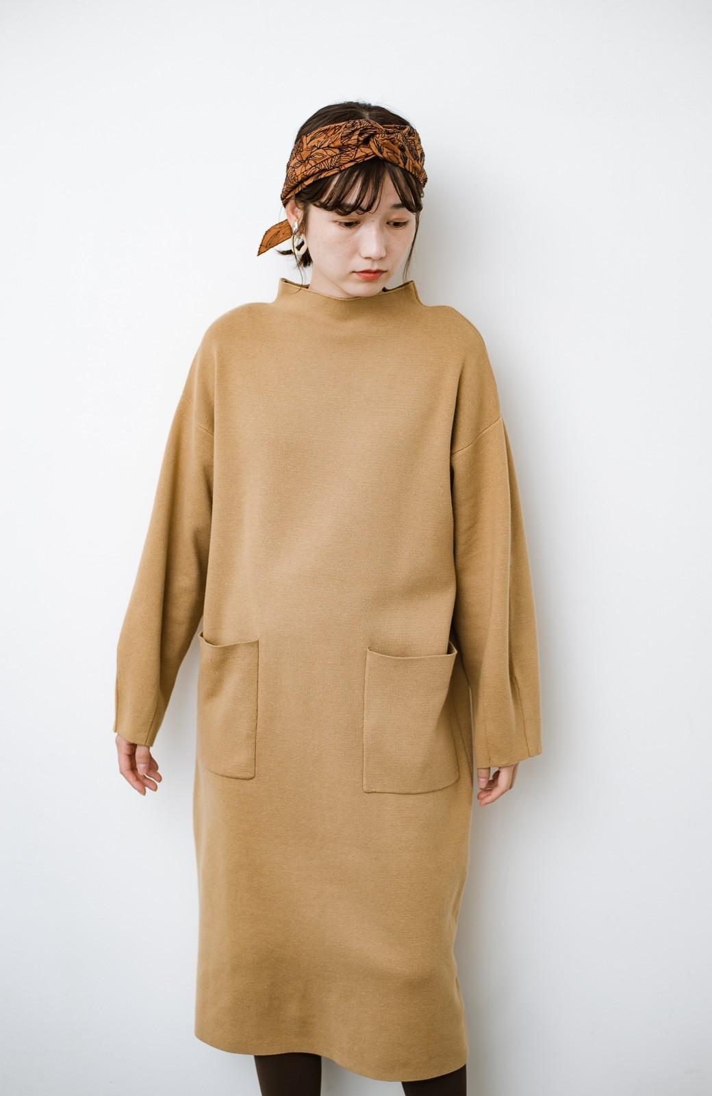 haco! お仕事にもカジュアルな重ね着にも使えて便利なミラノリブニットワンピース  <ベージュ>の商品写真7