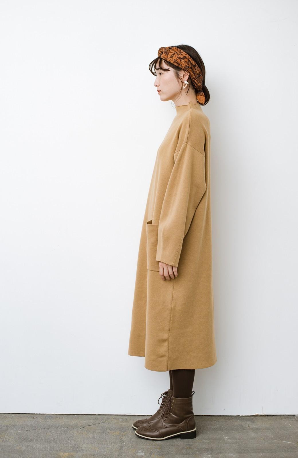 haco! お仕事にもカジュアルな重ね着にも使えて便利なミラノリブニットワンピース  <ベージュ>の商品写真8