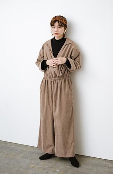 haco! パッと着るだけで楽ちんなのにオシャレ度が増す!大人のためのオールインワン<ライトブラウン>の商品写真