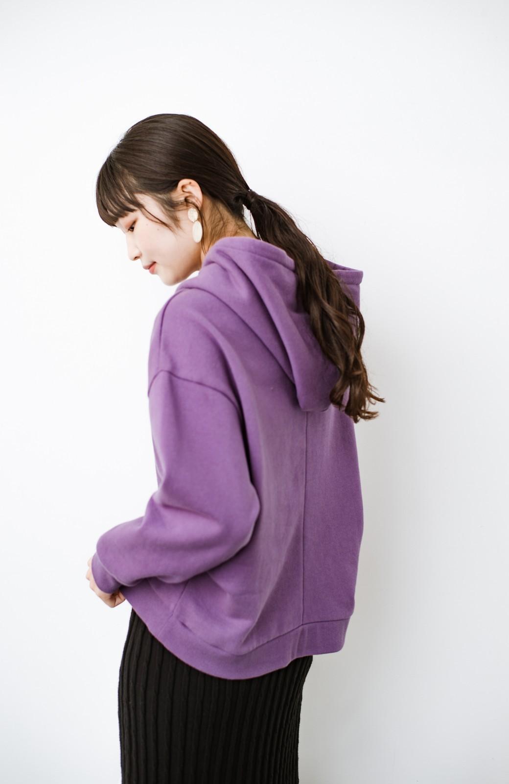 haco! PBPオーガニックコットン 短め丈でバランスよく着られる裏起毛パーカー <パープル>の商品写真4