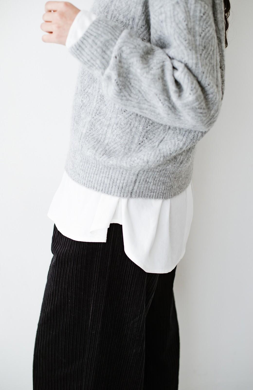 haco! ニットとのこなれた重ね着が簡単にできる!なめらか素材でつくった大人のためのシンプルシャツ <ホワイト>の商品写真6